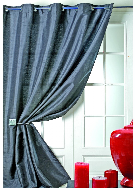 rideau en taffetas shantung effet soie noir achat tous les rideaux. Black Bedroom Furniture Sets. Home Design Ideas