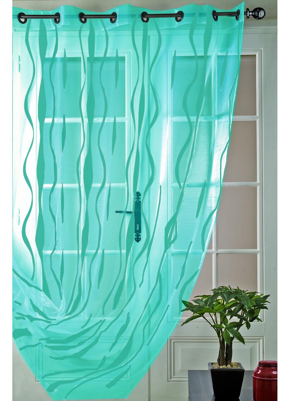 Voilage en organza fils coupés motif longues lianes (Turquoise)