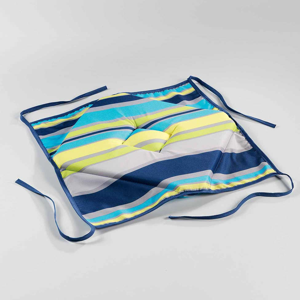 galette de chaise rabats anti tache bleu multico jaune homemaison vente en ligne. Black Bedroom Furniture Sets. Home Design Ideas