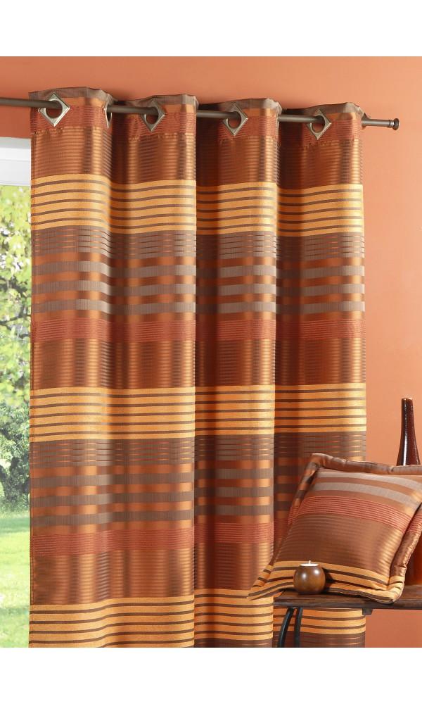 rideau bouchara taffetas changeant bandes horizontales bordeaux homemaison vente en ligne. Black Bedroom Furniture Sets. Home Design Ideas