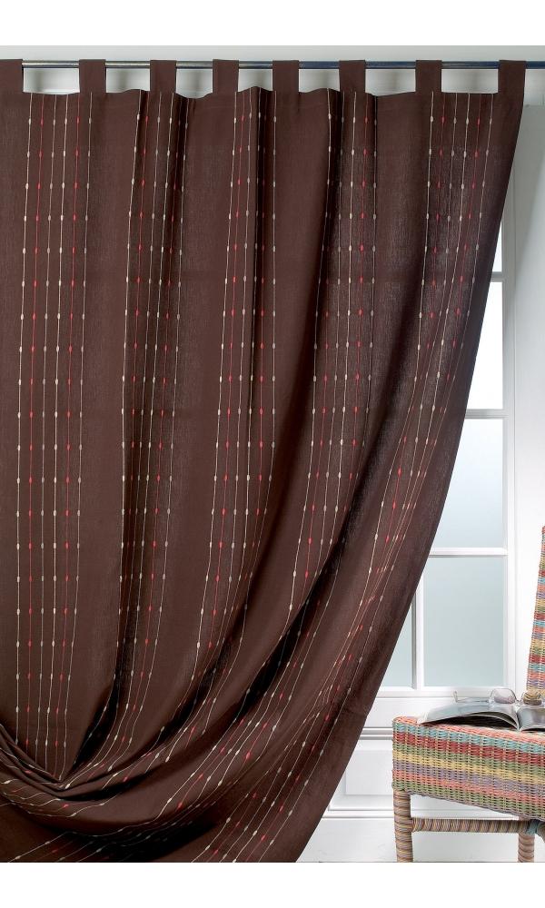 Rideau Coton et Lin Rayures Verticales (Chocolat)