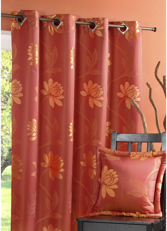 Rideau en Jacquard motif fleurs (Piment)