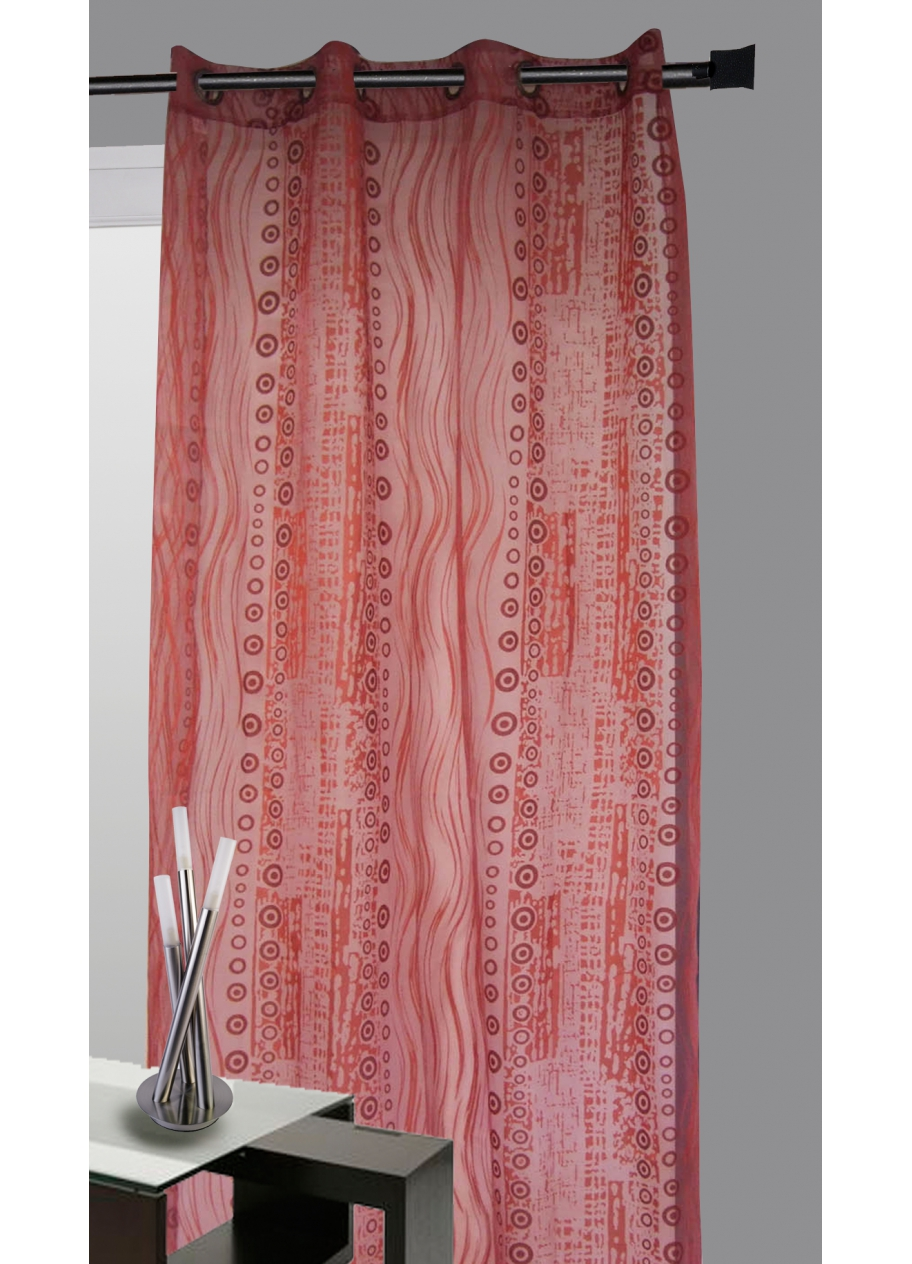 Rideau organza all over motifs fantaisies (Bordeaux)