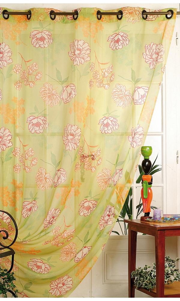 voilage imprim grandes fleurs vert ivoire rouge. Black Bedroom Furniture Sets. Home Design Ideas