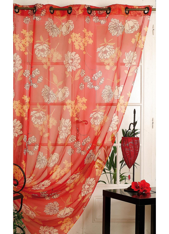 voilage imprim grandes fleurs rouge ivoire vert. Black Bedroom Furniture Sets. Home Design Ideas