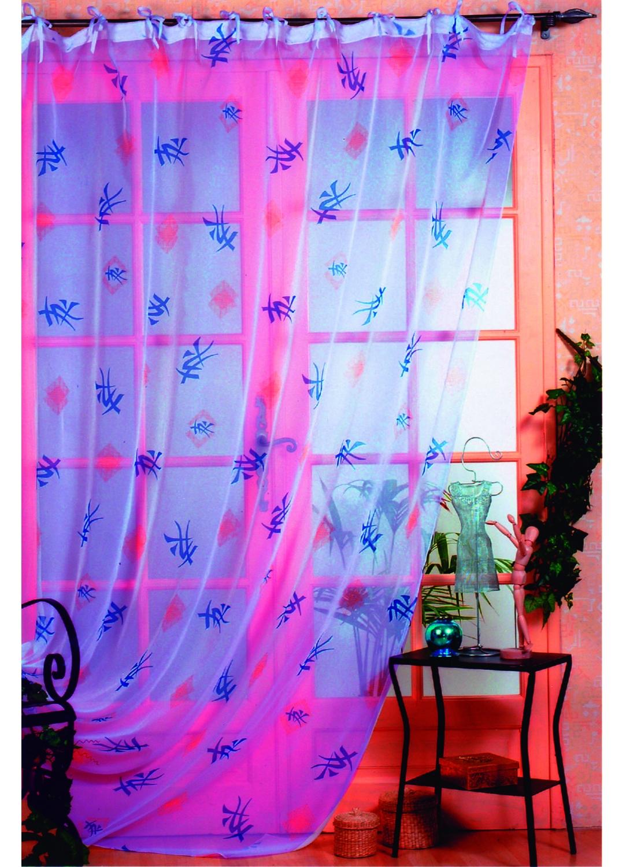 rideau voile imprim hokkaido bleu homemaison vente en ligne rideaux voilages stores. Black Bedroom Furniture Sets. Home Design Ideas