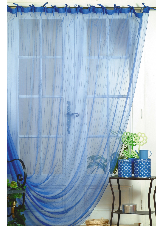 rideau d co voile et organza fantaisie rayures miami bleu. Black Bedroom Furniture Sets. Home Design Ideas