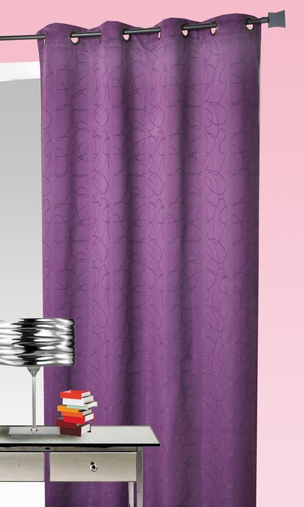 Rideau ameublement jacquard motif géométrique - Prune - 140 x 260cm
