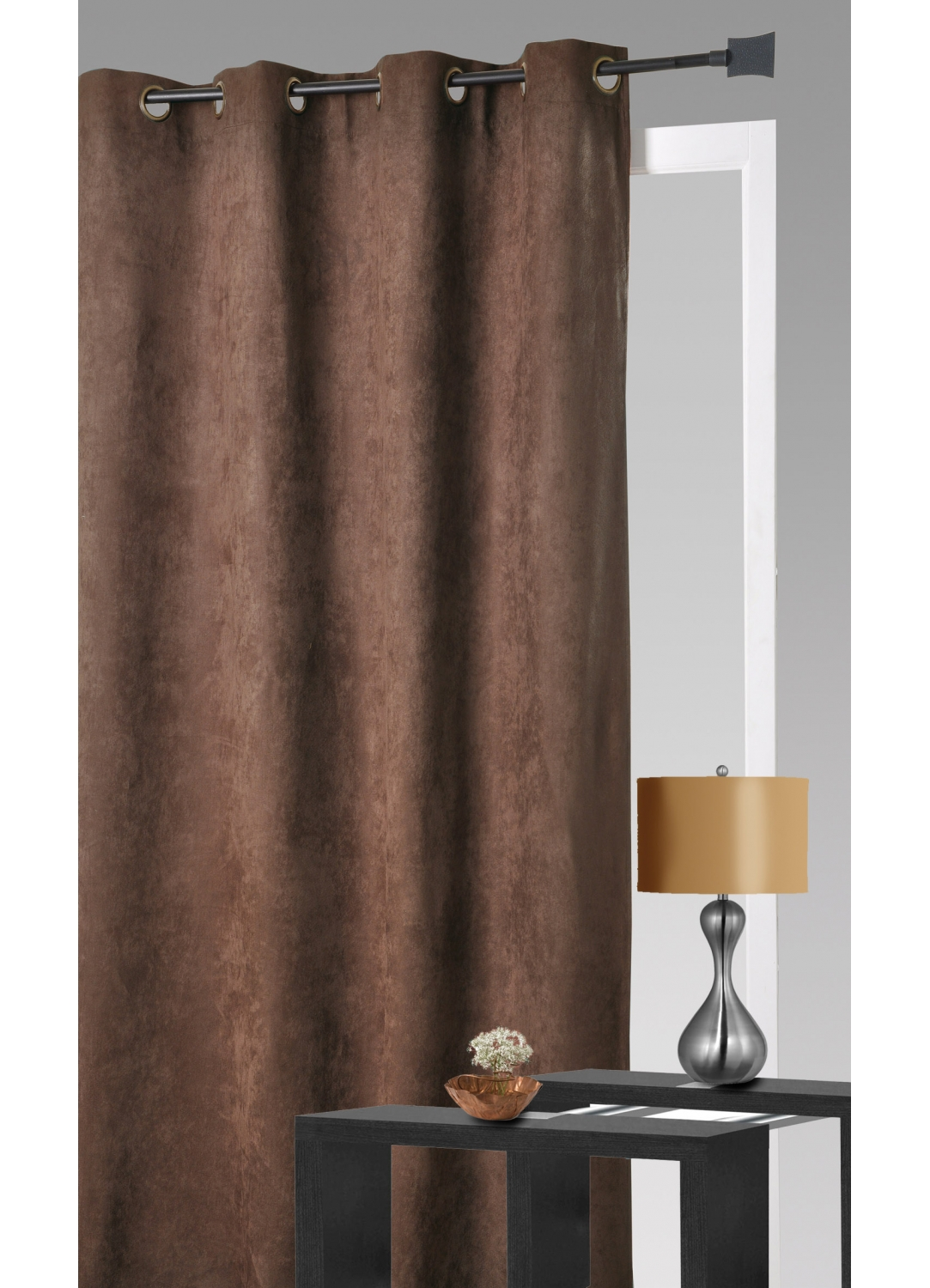 rideau aspect velours chocolat ivoire anis taupe. Black Bedroom Furniture Sets. Home Design Ideas