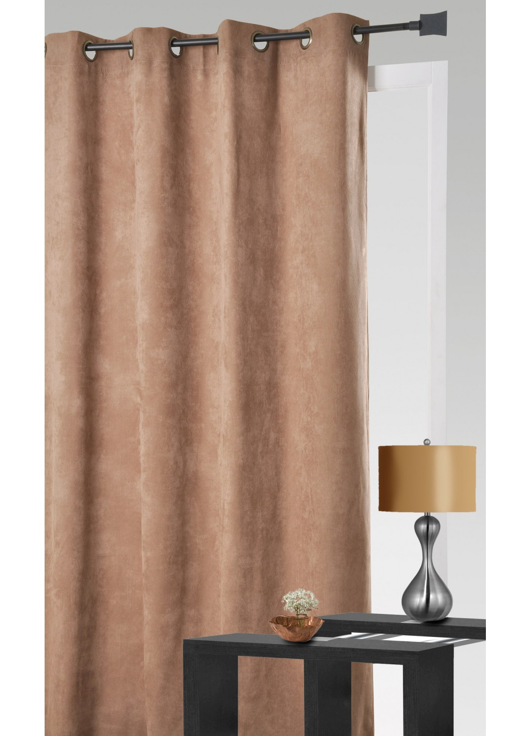 Rideau aspect velours taupe terracotta lin prune for Rideau taupe
