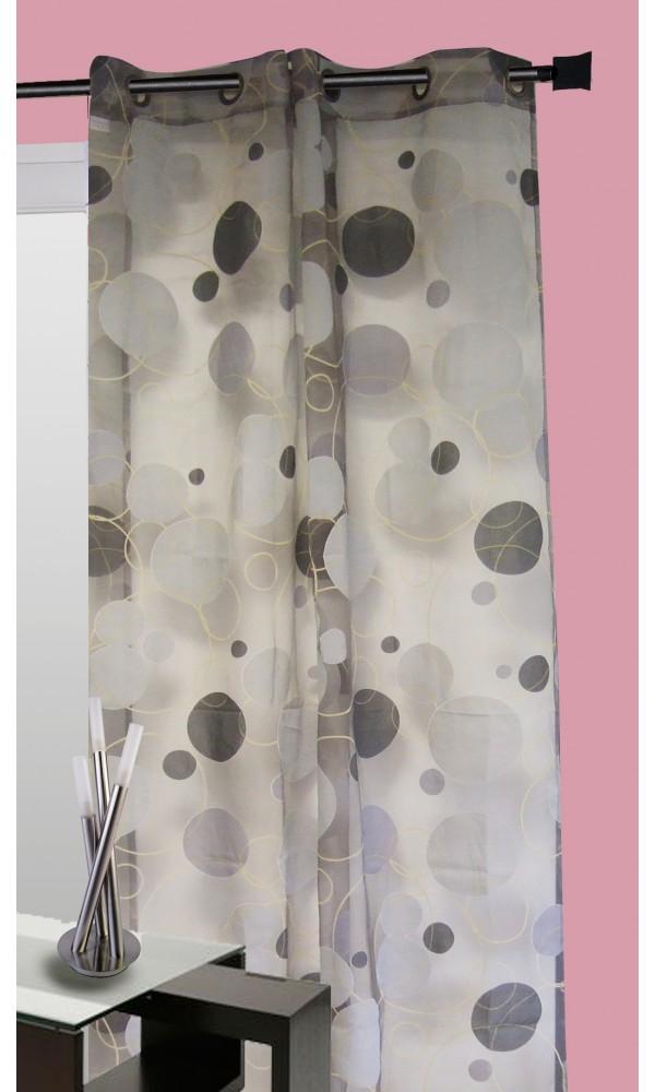 Voilage organza dévoré motif ronds emmêlés - Gris - 140 x 240cm