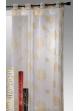 Rideau organza imprimé motifs géométrique mat et brillant Jaune