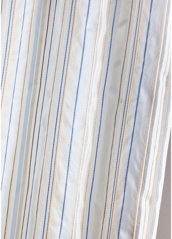 Voilage en organza à rayures (Bleu)