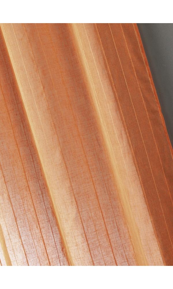 Voilage étamine unie à rayures verticales - Mandarine - 150 x 260 cm