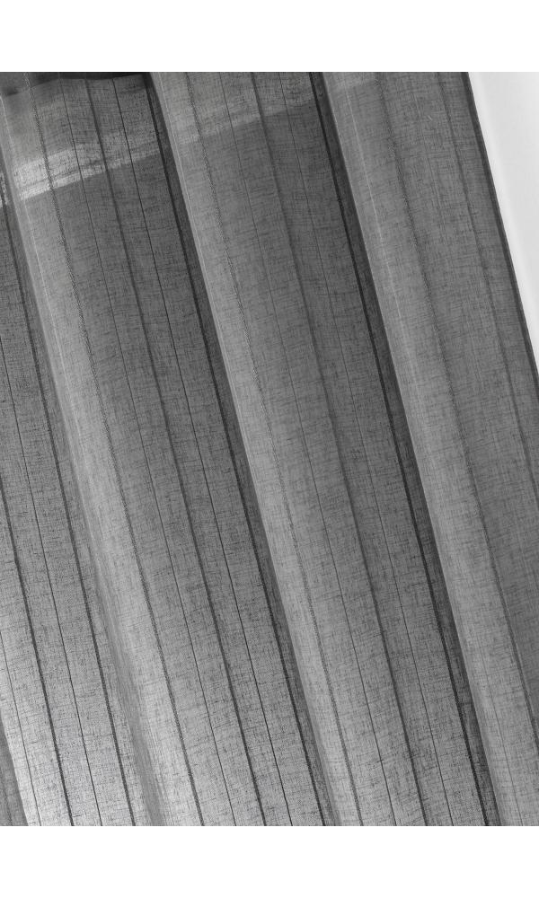 Voilage étamine unie à rayures verticales - Taupe - 150 x 260 cm