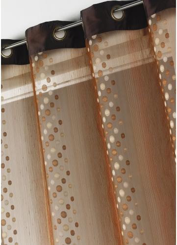 Rideau voilage organza jacquard ronds en bandes verticales