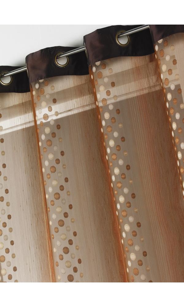 Rideau voilage organza jacquard ronds en bandes verticales (Chocolat)