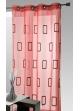 Voilage brodé rectangles 'Fils Bouclettes' en relief  Rouge