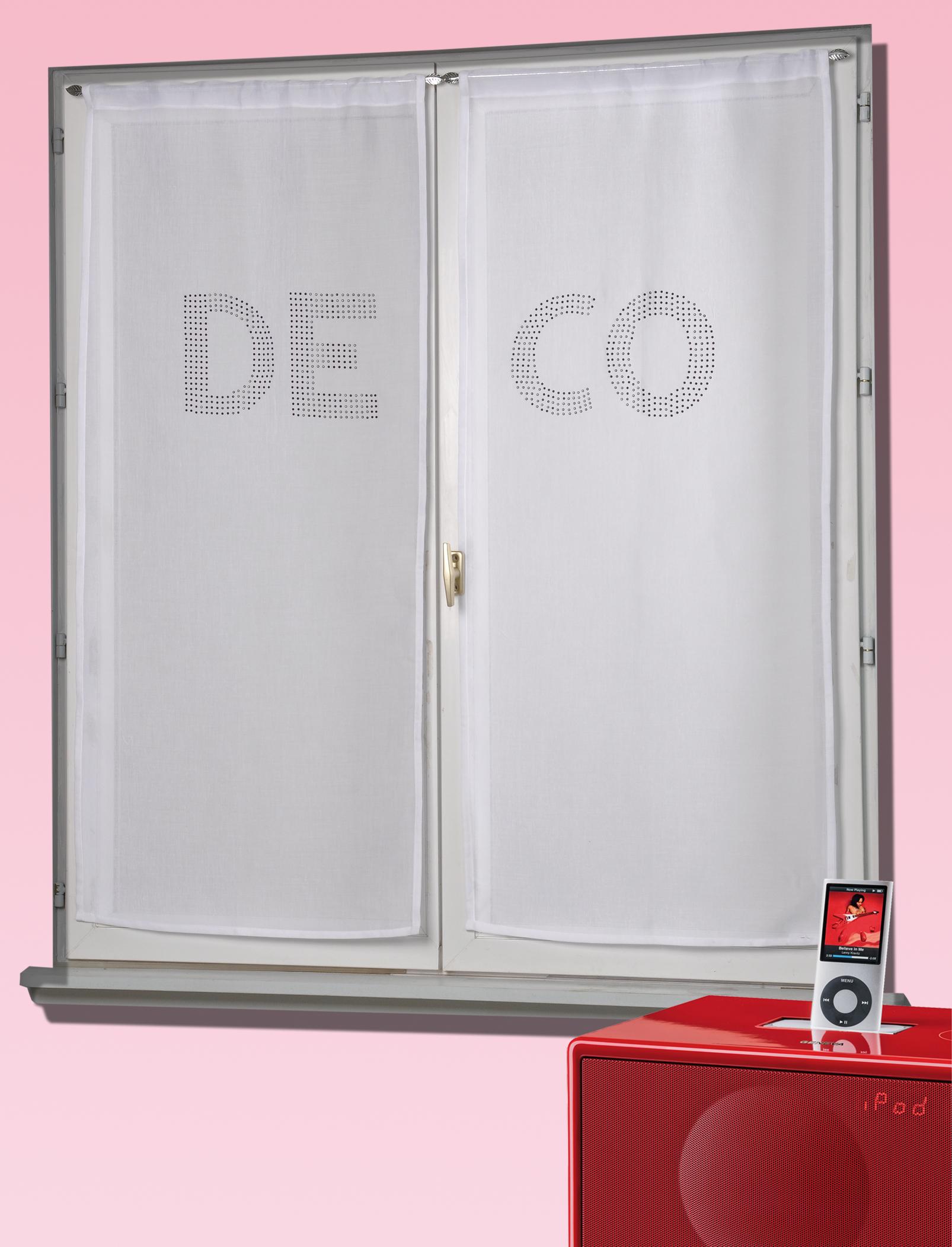 Paire de voilages étamine avec strass 'DECO' (Blanc)