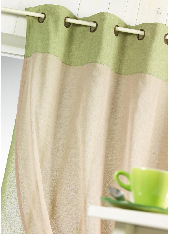 voilage double tamine avec parement de couleur anis achat voilages. Black Bedroom Furniture Sets. Home Design Ideas