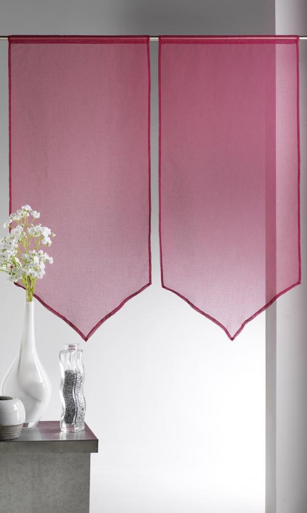 Paire de vitrages Etamine bas en pointe - Bordeaux - 60 x 130 cm