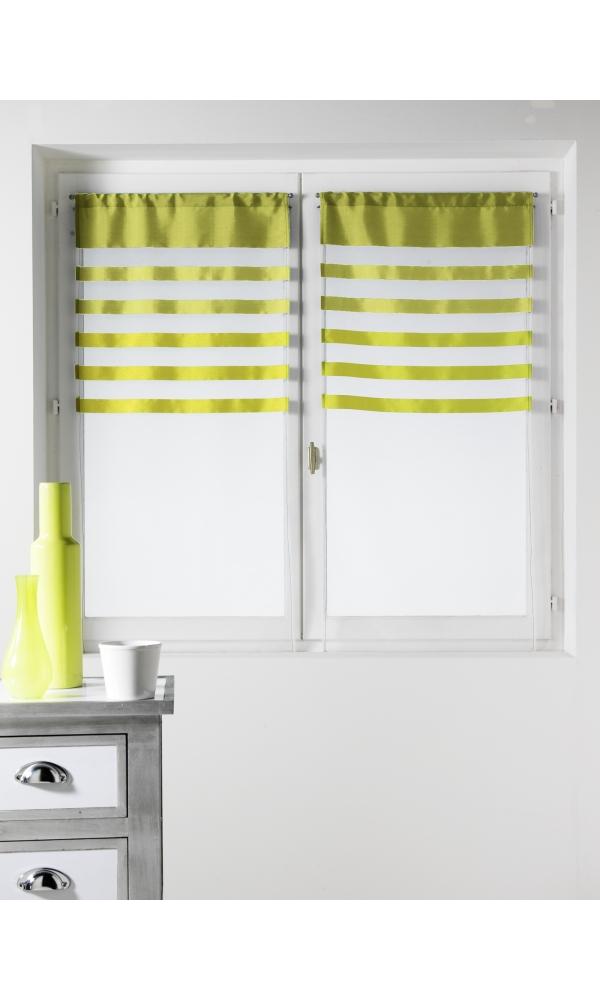 Paire de vitrages Voile avec Parement coloré - Anis - 60 x 160 cm