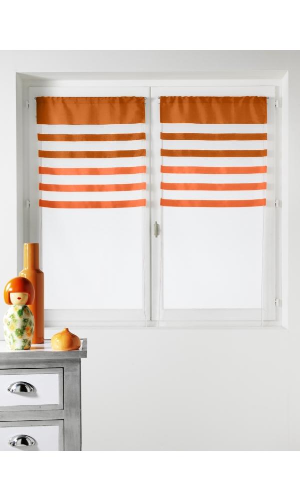 Paire de vitrages Voile avec Parement coloré - Orange - 60 x 160 cm