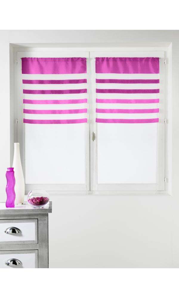 Paire de vitrages Voile avec Parement coloré - Rose - 60 x 160 cm