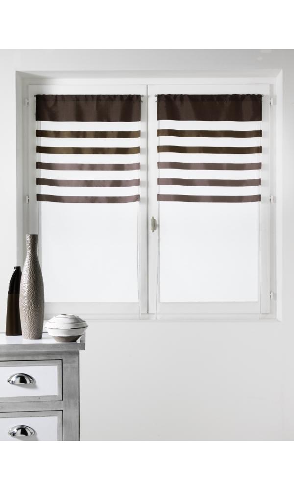 Paire de vitrages Voile avec Parement coloré - Taupe - 60 x 160 cm