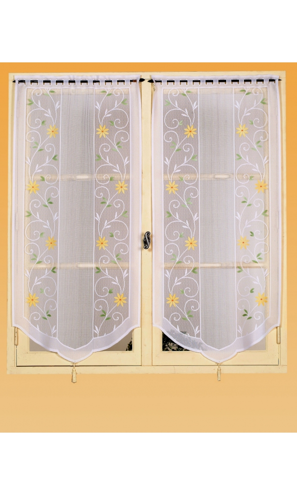 Paire de vitrages maille avec motifs florals (Blanc)