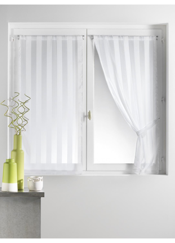 paire de vitrages tiss rayures 2 embrasses blanc homemaison vente en ligne petits. Black Bedroom Furniture Sets. Home Design Ideas
