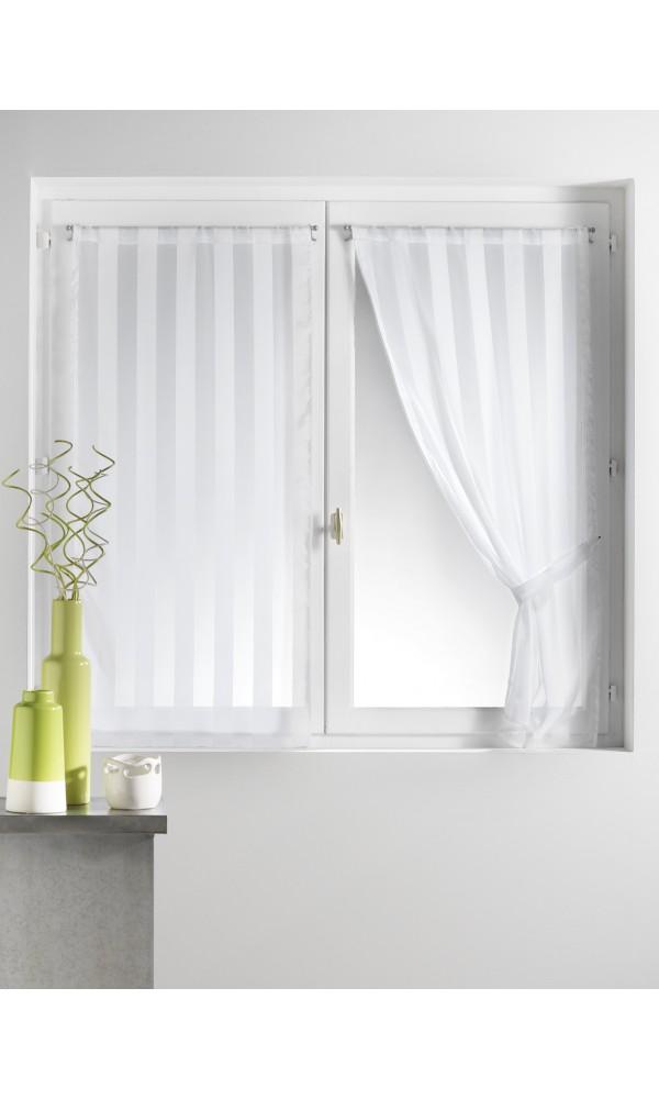 Paire de vitrages tissé à rayures + 2 embrasses - Blanc - 70 x 130cm