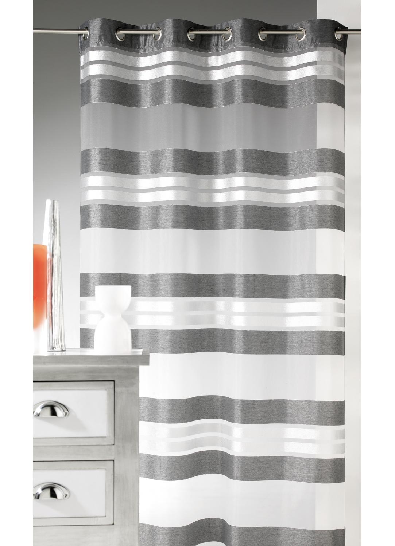 voilage esprit rayures horizontales et fils argent anthracite blanc bordeaux. Black Bedroom Furniture Sets. Home Design Ideas