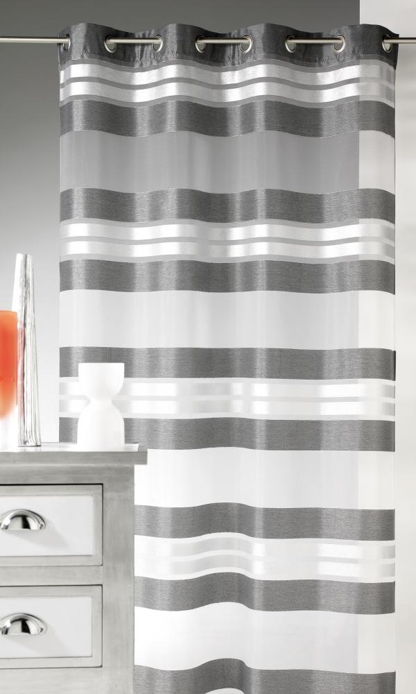 Voilage Esprit à rayures horizontales et fils argent - Anthracite - 145 x 240 cm