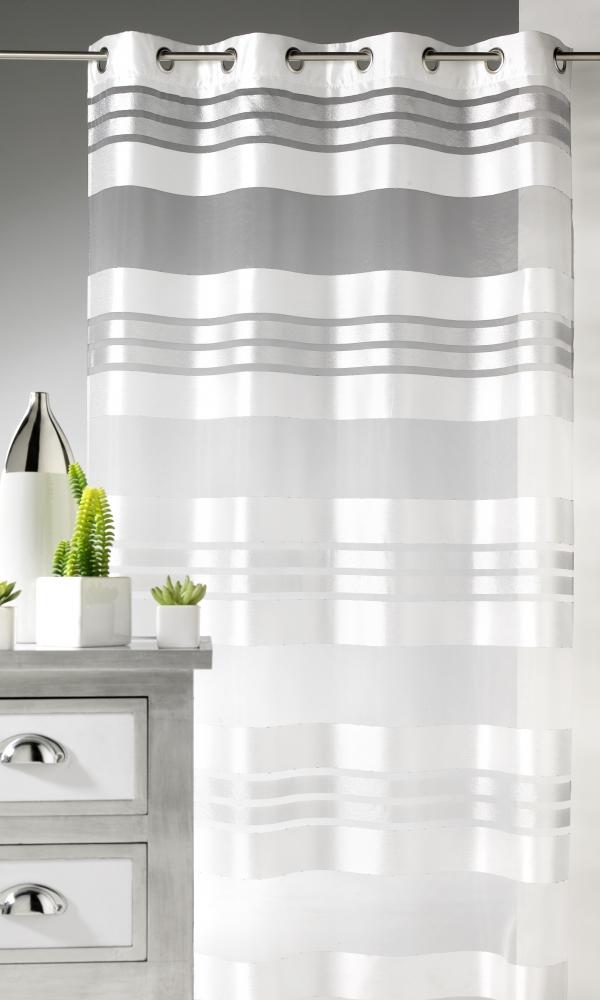 Voilage Esprit à rayures horizontales et fils argent - Blanc - 145 x 240 cm