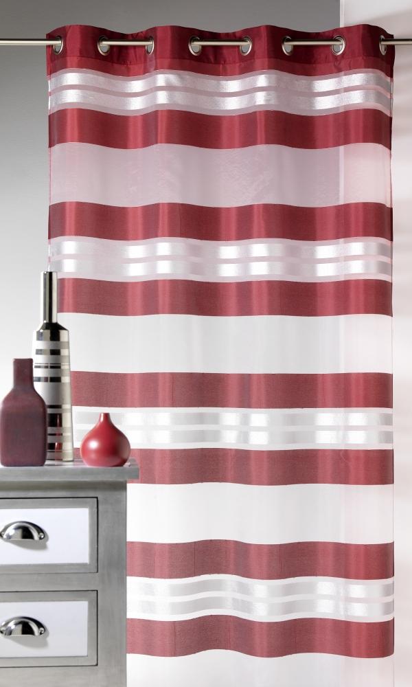 Voilage Esprit à rayures horizontales et fils argent - Bordeaux - 145 x 240 cm