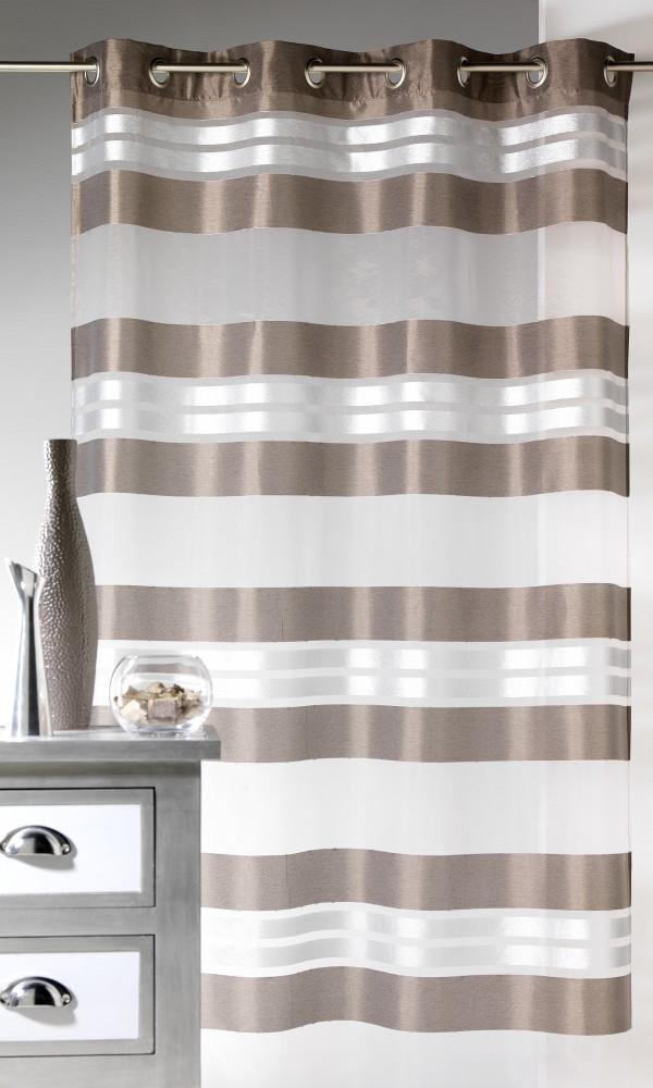 Voilage Esprit à rayures horizontales et fils argent - Taupe - 145 x 240 cm