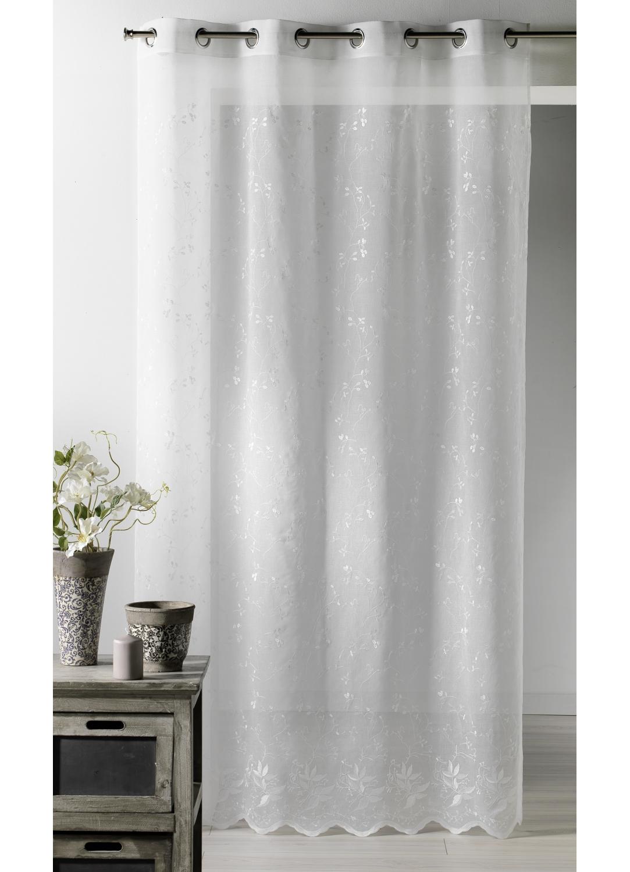 voilage brod petit feuillage blanc homemaison vente en ligne voilages. Black Bedroom Furniture Sets. Home Design Ideas