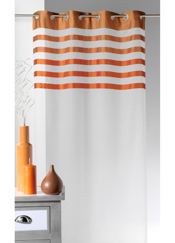 Voilage en Voile avec parement à rayures colorées (Orange)
