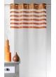 Voilage en Voile avec parement à rayures colorées  Orange
