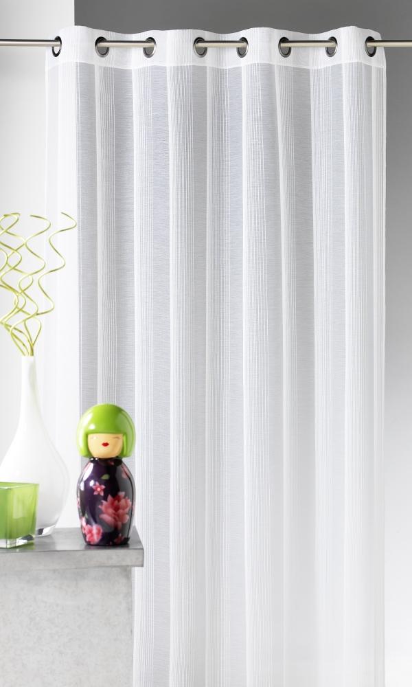 Voilage en étamine à rayures verticales tons sur tons - Blanc - 140 x 260 cm