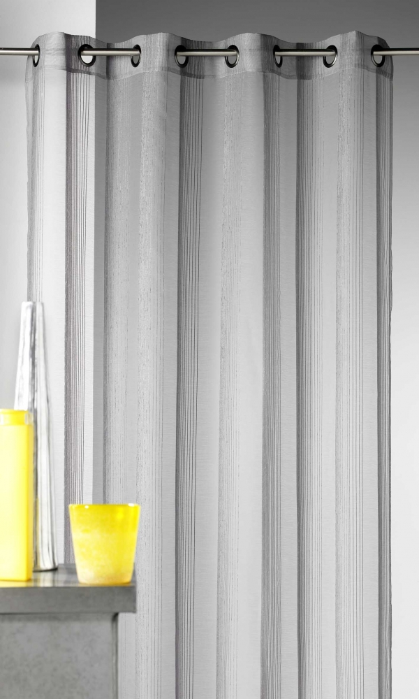 Voilage en étamine à rayures verticales tons sur tons - Gris - 140 x 260 cm