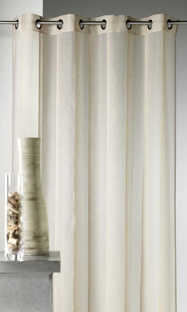 Voilage en étamine à rayures verticales tons sur tons - Naturel - 140 x 260 cm