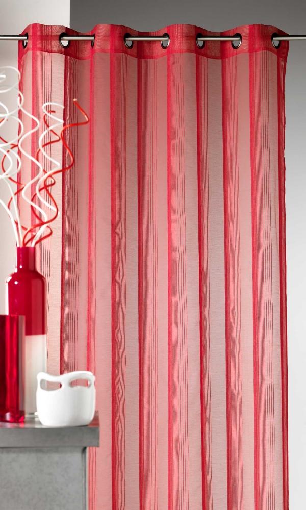 Voilage en étamine à rayures verticales tons sur tons - Piment - 140 x 260 cm