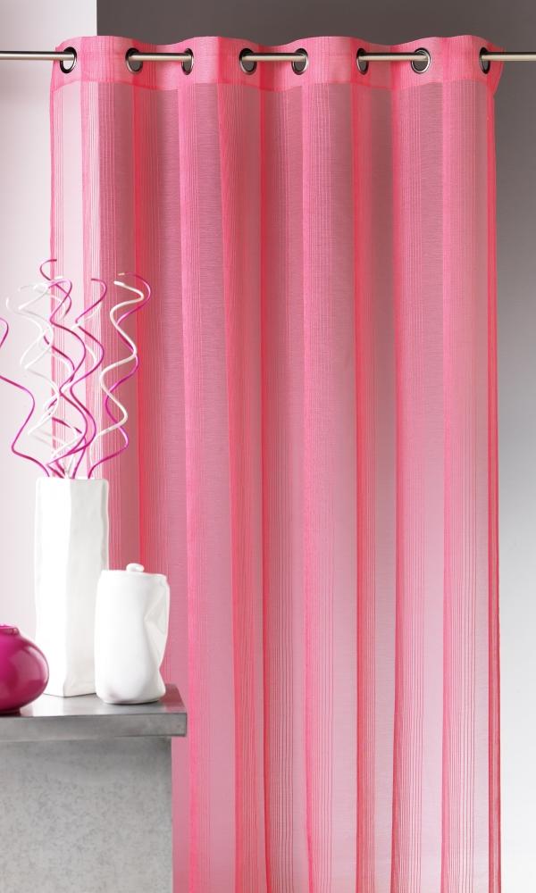 Voilage en étamine à rayures verticales tons sur tons - Rose - 140 x 260 cm