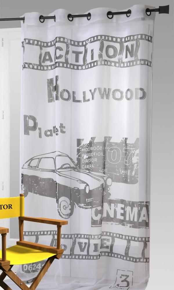 voilage imprim hollywood blanc noir homemaison. Black Bedroom Furniture Sets. Home Design Ideas