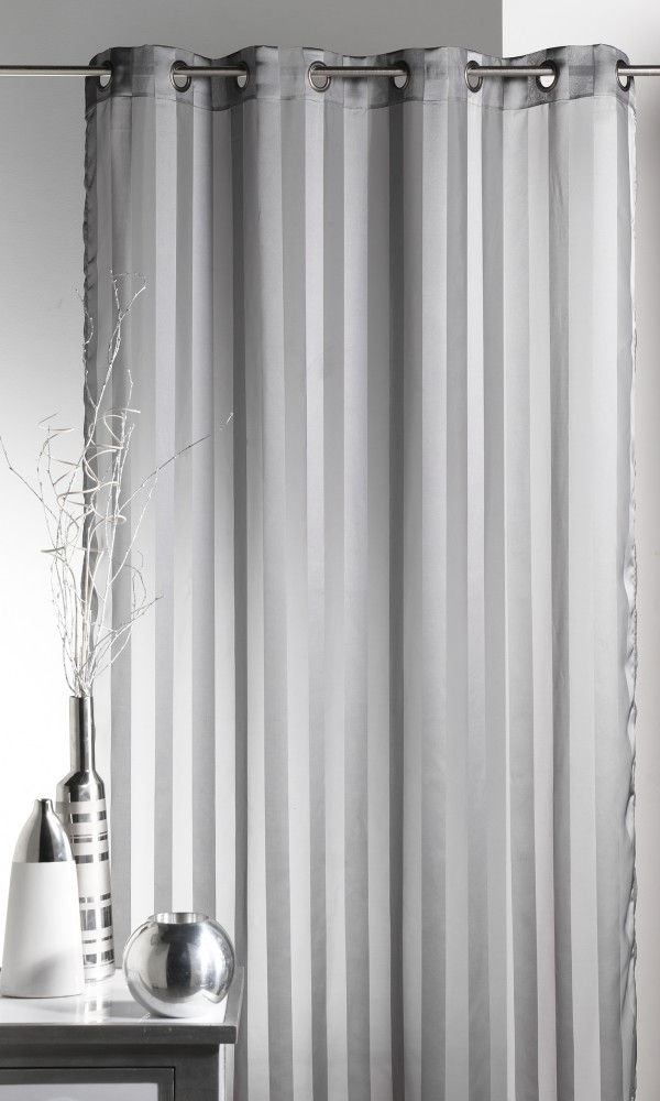 Voilage tissé à Rayures - Gris - 140 x 240 cm