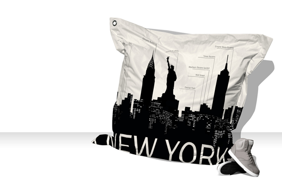 Big Coussin New-York Skyline (blanc / gris)