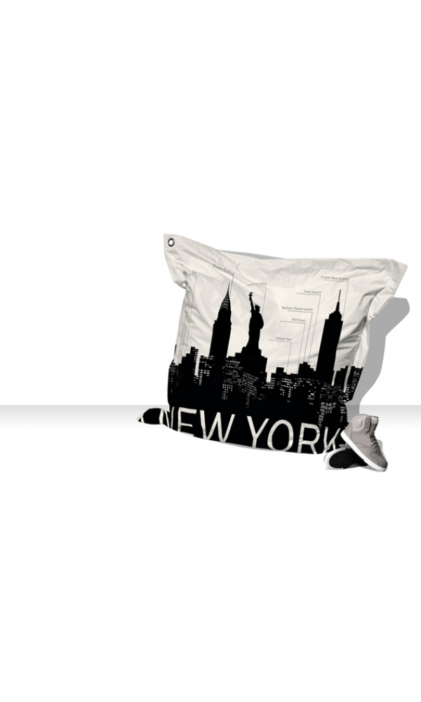 Big Coussin New-York Skyline - blanc / gris - 140 X 140 cm