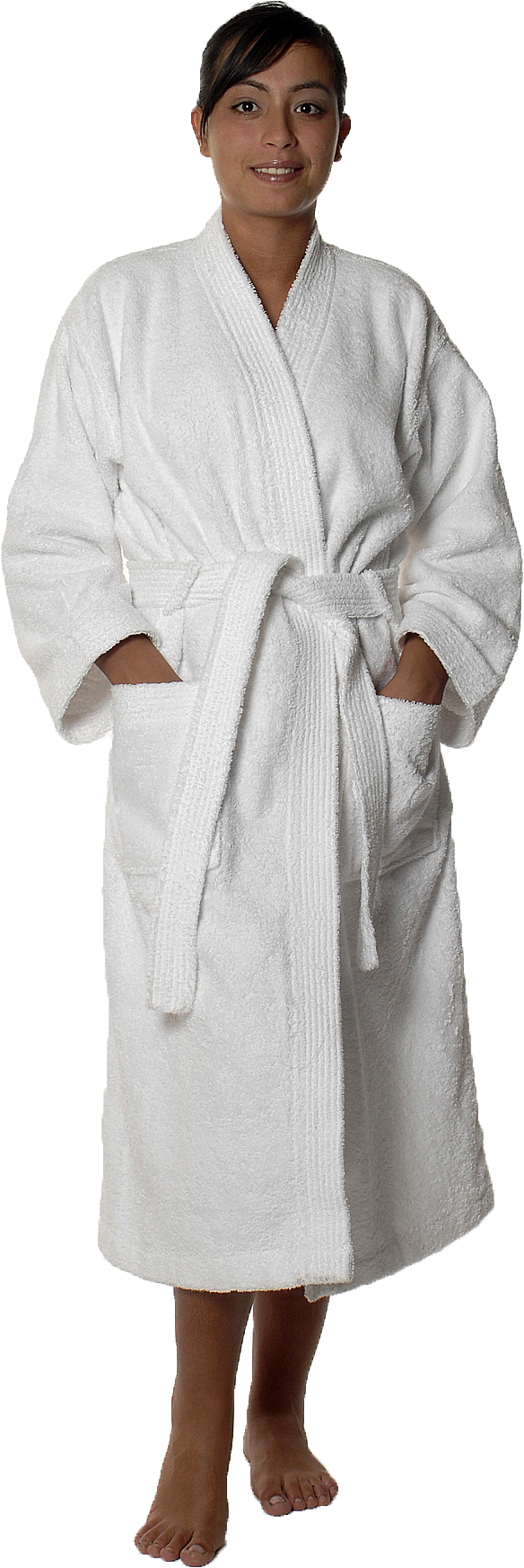 Peignoir col kimono en Coton couleur Blanc Taille M (Blanc)